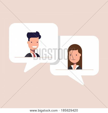 Man and woman chatting in speech bubble. Businessman and businesswoman talking. Concept of dialogue on business theme. Flat illustration isolated on color background