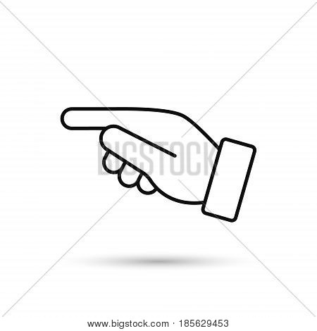 Point finger direction black outline icon. Man hand gesture pictogram. Vector illustration flat style design. Pointer direction forefinger silhouette.