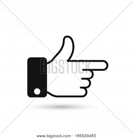 Point finger direction black icon. Man hand gesture pictogram. Vector illustration flat style design. Pointer direction forefinger silhouette.