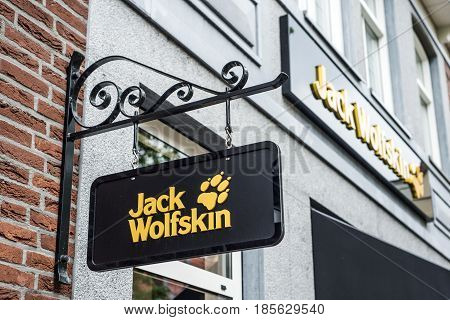 Roermond Netherlands 07.05.2017 - Logo of Jack Wolfskin Outdoor clothes Store Mc Arthur Glen Designer Outlet shopping area