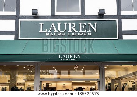 Roermond, Netherlands 07.05.2017 - Logo and shop of Ralph Lauren Store Mc Arthur Glen Designer Outlet shopping area