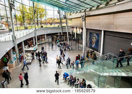 Amsterdam, Netherlands - April, 2017: Vincent Van Gogh Museum interior in Amsterdam, Netherlands
