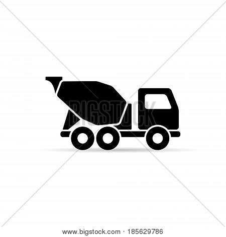 Concrete mixer icon vector isolated simple mixer truck symbol.