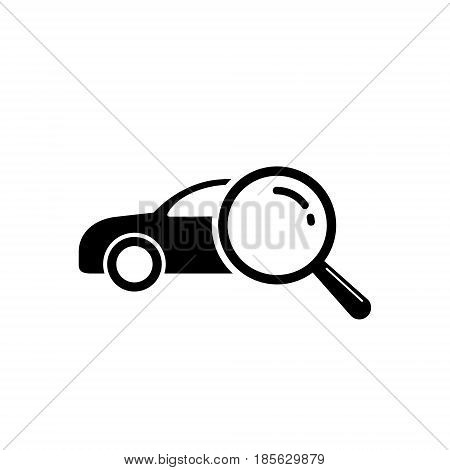Looking for car selling icon magnifying glass search car vector logo illustration.
