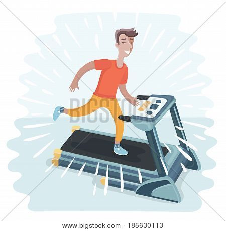 Vector cartoon funny illustration of Young adult man running on treadmill, sport, fitness, athletics, healthy lifestyle.