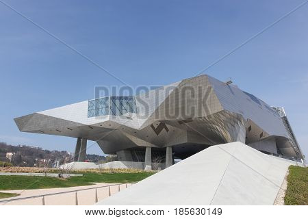 Lyon, France - March 15, 2017: The Musee des Confluences in Lyon, France. The Musee des Confluences is a science centre and anthropology museum opened in 2014 in Lyon, France