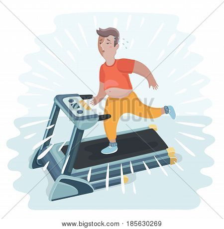 Vector cartoon funny illustration of a overweight man jogging on a treadmill