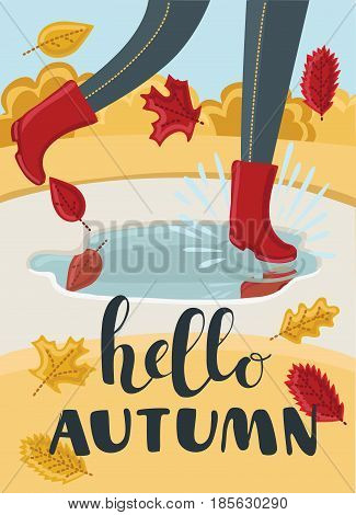 Vector cartoon illustration of girls or kids legs in rubber boots playing in the puddle. Falling leaves arround. Hello Autumn concept.