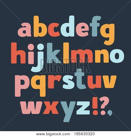Vector cartoon funny lower case letters in different colors, question, exclamation point, comma on dark background