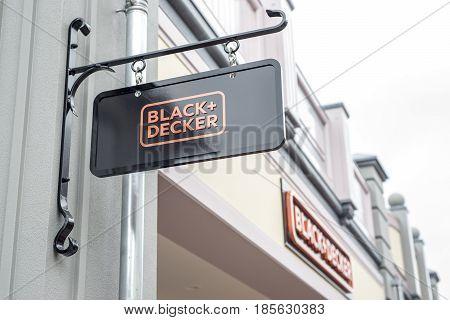 Roermond, Netherlands 07.05.2017 - Logo Sign of Black and Decker Store Mc Arthur Glen Designer Outlet shopping area