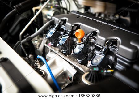 The powerful engine of a car. Internal design of engine with combustion and valve in dark tone