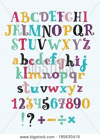 Vector cute cartoon funny serif alphabet colorful uppercase and lowercase letters sticker alphabet with number and plus, minus, division, multiplication, marks, equals. Set of abc characters uppercase, lowercase colorl letters for card, banners