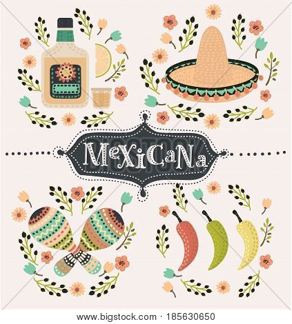 Vector cartoon mexican set of illustration of chilli papers, tequilla slice of lemon, sambrero, maracases and caballito decorated with flower. Hand drawn lettering mexicana