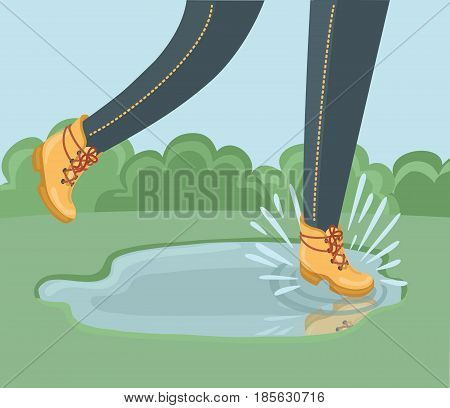 Vector illustration of leg in ankle boot walking in paddle poster