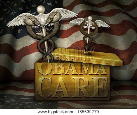 Obamacare Box With Political Medical Symbols - 3D Illustration
