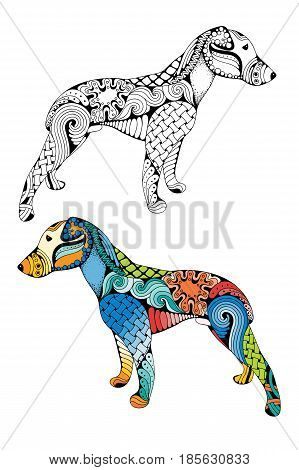 Zentangle stylized cartoon dog isolated on white background. Hand drawn sketch for adult antistress coloring page T-shirt emblem logo or tattoo with doodle zentangle design elements. Colored and monochrome variations