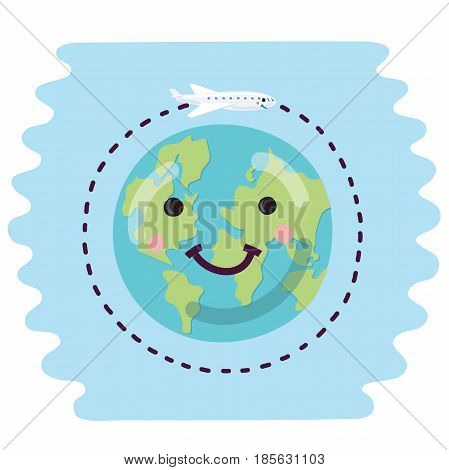 Vector illustration of cute cartoon earth and plane moving around with smiling faces. Travel the world concept
