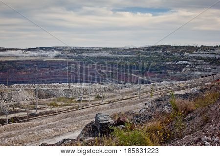 Open pit of the Stoilensky Mining and Processing Plant and railway