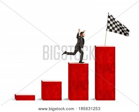 Businessman reaches glory on a statistical scale with flag