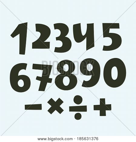 Vector set of numbers: white and black Authors font,. Hnad darwn sights on a white background.