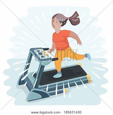 Vector cartoon funny illustratuion of plump young woman running on treadmill. Girl working out in sweat to get rid of fat belly