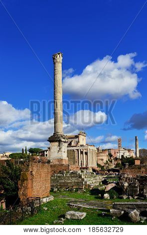 Ancient Column of Byzantine Emperor Phocas in the center of Roman Forum