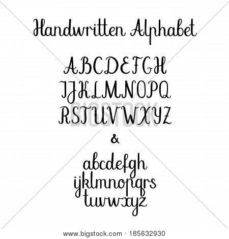 Handwritten alphabet . Brush painted characters: lowercase, uppercase. Vector alphabet. Ink illustration. Modern brush calligraphy. Isolated on white background. Hand drawn typeface set.