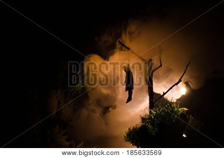 Horror view of hanged girl on tree at evening (at night) Suicide decoration. Death punishment executions or suicide abstract idea. Different background decoration poster