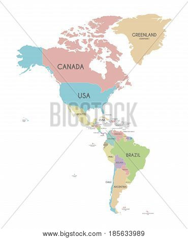 Political America Map vector illustration isolated on white background. Editable and clearly labeled layers.