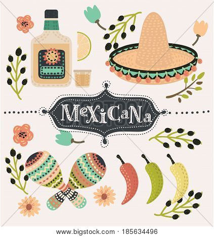 Vector cartoon mexican set of illustration of chilli papers, tequilla slice of lemon, sambrero, maracases and caballito decorated with flower. Hand drawn lettering mexicana. Mexican party vector decoration