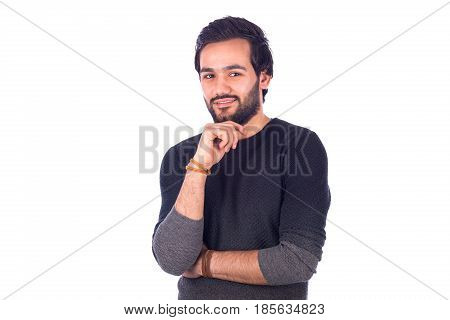 Happy handsome beard young man smiling and standing confidently and holding his chin by his hand guy wearing gray t-shirt isolated on white background