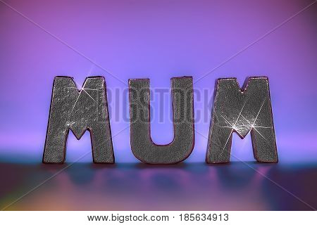 Mum word in glamorous sparkling silver foil letters with pink lights providing background and reflection. Feminine with seventies party style glam. Ideal birthday mother's day and party occassion image.