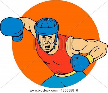 Drawing sketch style illustration of an amateur boxer wearing headgear hitting an overhead punch viewed from front set inside circle shape.