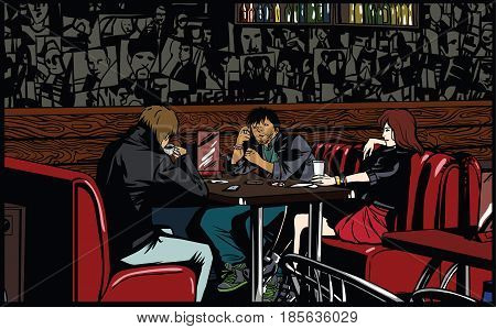 Friends sitting and talking in cafe. Vector illustration.
