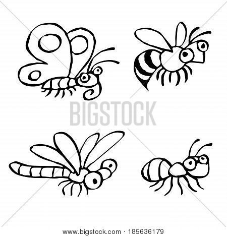 Cute insects flying and crawling. Vector illustration. Contour freehand digital drawing characters. Butterfly wasp dragonfly and ant. White color background.