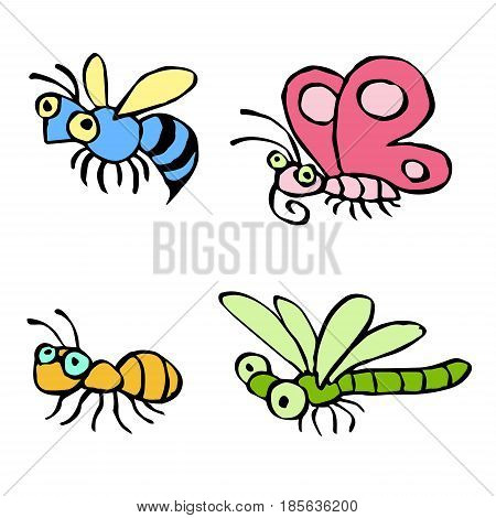Cartoon insects flying and crawling somewhere. Vector illustration. Contour freehand digital drawing cute characters. Butterfly wasp dragonfly and ant. White color background.