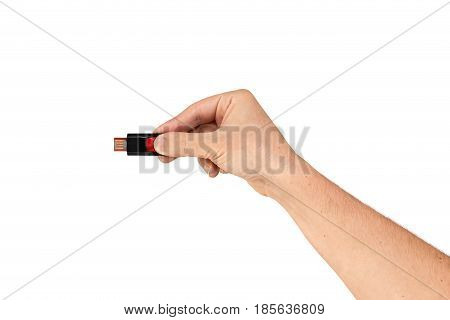 Flash drive on hand with isolated white background