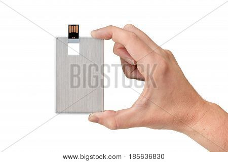 Credit card flash memory on hand with isolated white background