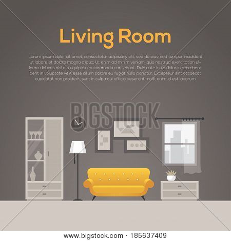 Cozy living room illustration in flat style. Home decor or interior design concept with yellow sofa.