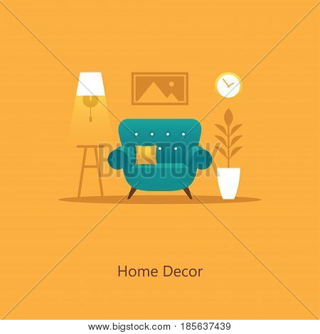 Cozy living room illustration with armchair in flat style. Home decor. Colorful interior design concept.