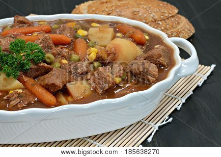 Close up of a homemade beef stew with vegetables.
