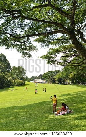 SINGAPORE- MAY 01 2017: Istana Grounds is open to the public in celebration Labour Day. The Istana is the official residence and office of the President of Singapore.