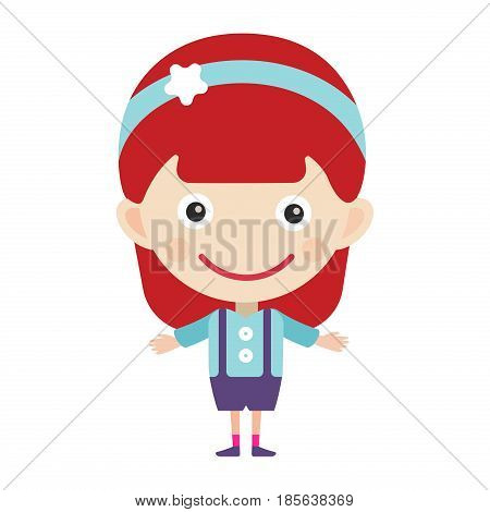 Girl portrait fun happy young expression cute teenager cartoon character and happyness little kid flat human cheerful joy casual childhood life vector illustration. Adorable preschooler male.