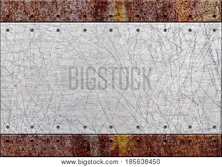 Old Rusty Metal Plate Over Comb Grid Or Grille Background, 3D, Illustration