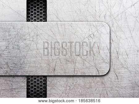 Grunge Metal Background With Shiny Metal Plate. Illustration; 3D