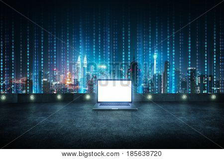 Laptop at roof top with abstract software developer programming binary computer code virtual city skyline .
