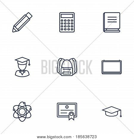 Set Of 9 Studies Outline Icons Set.Collection Of Calculator, School Board, Diploma And Other Elements.