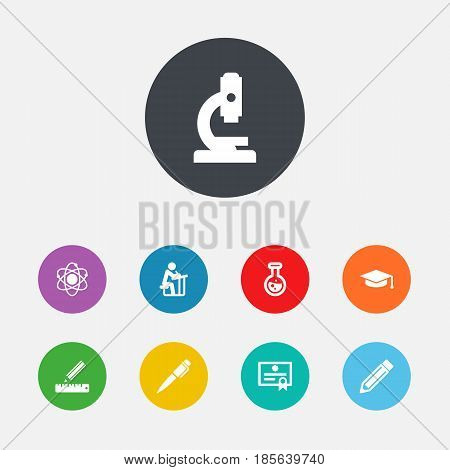 Set Of 9 Science Icons Set.Collection Of Molecule, Pencil, Academic Hat And Other Elements.