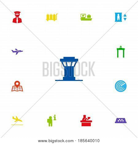 Set Of 13 Land Icons Set.Collection Of Security, Location, Aircraft And Other Elements.