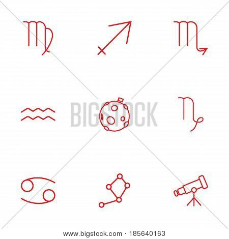 Set Of 9 Astronomy Outline Icons Set.Collection Of Virgo, Cancer, Telescope And Other Elements.